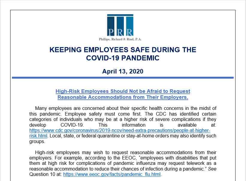 COVID-19 Legal Update Employee Safety April 13