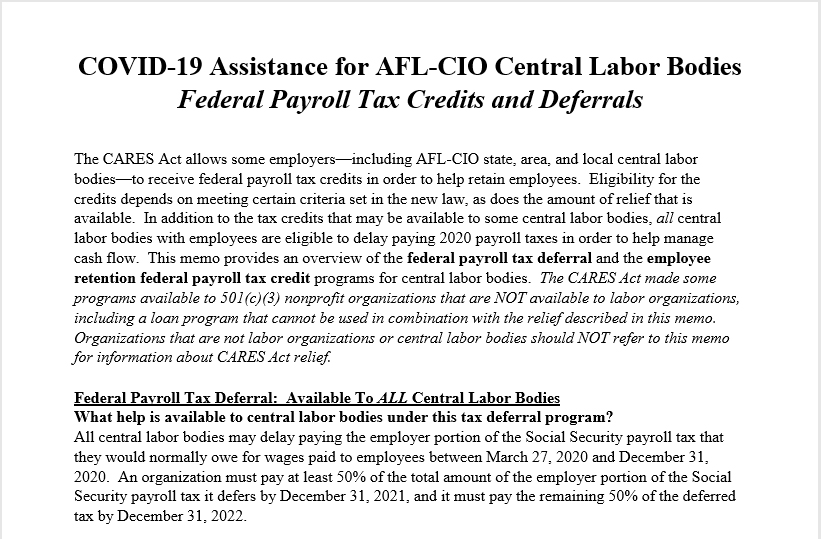 Memo re Payroll Tax Relief in the CARES Act for AFL-CIO Central Labor Bodies - April 8 2020