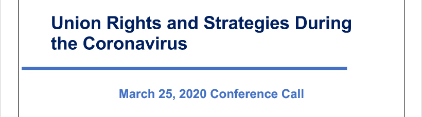 Union Rights and Strategies During the Coronavirus