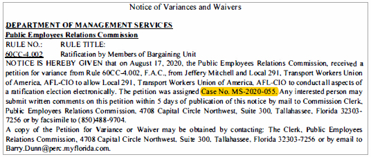 Notice of Variances and Waivers - DEPARTMENT OF MANAGEMENT SERVICES